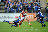 Henry Trinder of Gloucester Rugby is tackled by Jamie Roberts of Bath Rugby during the Gallagher Premiership Rugby match between Bath Rugby and Gloucester Rugby at The Recreation Ground on Saturday 8th September 2018 (Photo by Rob Munro/Stewart Communications)
