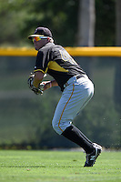 Pittsburgh Pirates outfielder Danny Collins (49) during a minor league spring training intrasquad game on March 30, 2014 at Pirate City in Bradenton, Florida.  (Mike Janes/Four Seam Images)