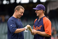 July 5, 2008: The Detroit Tigers' Brandon Inge (left) and Clete Thomas (right) joking around before a game against the Seattle Mariners at Safeco Field in Seattle, Washington.