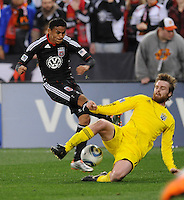 DC United midfielder Andy Najar (14) goes against Columbus Crew midfielder Dilly Duka (11)  DC United defeated The Columbus Crew 3-1  at the home season opener, at RFK Stadium, Saturday March 19, 2011.