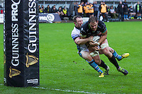 Sunday 26 February 2017<br /> Pictured: Ospreys flanker Tyler Ardron goes over for a try.<br /> RE: Guinness Pro12 Ospreys v Glasgow at the the Liberty Stadium, Swansea, Wales, UK
