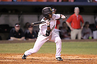 Western Michigan Broncos Jordan Tillman #2 attempts to bunt during a game against the Illinois State Redbirds at Chain of Lakes Stadium on March 10, 2012 in Winter Haven, Florida.  Illinois State defeated Western Michigan 10-9.  (Mike Janes/Four Seam Images)