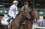 """October 05, 2014:  Lawn Ranger and jockey Chris Landeros win the 24th running of The Dixiana Bourbon Grade 3 """"Win and You're In Juvenile Turf Division"""" $250,000 for owner Turf Stable and trainer Kenneth McPeek .  Candice Chavez/ESW/CSM"""