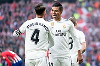 Sergio Ramos and Carlos Henrique Casemiro of Real Madrid celebrating a goal during La Liga match between Atletico de Madrid and Real Madrid at Wanda Metropolitano in Madrid Spain. February 09, 2018. (ALTERPHOTOS/Borja B.Hojas)<br /> Liga Campionato Spagna 2018/2019<br /> Foto Alterphotos / Insidefoto <br /> ITALY ONLY