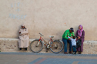 Essaouira, Morocco.  Family in the Place Moulay Hassan, late Afternoon.