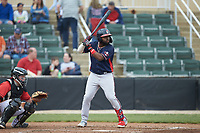 Trey Harris (2) of the Rome Braves at bat against the Kannapolis Intimidators at Kannapolis Intimidators Stadium on April 7, 2019 in Kannapolis, North Carolina. The Intimidators defeated the Braves 2-1. (Brian Westerholt/Four Seam Images)