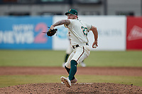 Greensboro Grasshoppers relief pitcher Austin Roberts (27) in action against the Rome Braves at First National Bank Field on May 16, 2021 in Greensboro, North Carolina. (Brian Westerholt/Four Seam Images)