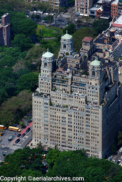 aerial photograph of The Beresford apartment building, 211 Central Park West, Manhattan, New York City