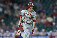 Peyton Graham (20) of the Oklahoma Sooners hustles down the first base line against the LSU Tigers in game seven of the 2020 Shriners Hospitals for Children College Classic at Minute Maid Park on March 1, 2020 in Houston, Texas. The Sooners defeated the Tigers 1-0. (Brian Westerholt/Four Seam Images)