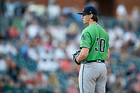 Gwinnett Braves starting pitcher Kyle Wright (30) looks to his catcher for the sign against the Charlotte Knights at BB&T BallPark on July 12, 2019 in Charlotte, North Carolina. The Stripers defeated the Knights 9-3. (Brian Westerholt/Four Seam Images)