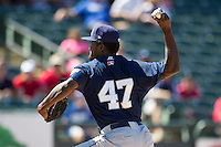 New Orleans Zephyrs pitcher Caminero Arquimedes #47 delivers a pitch to the plate during the Pacific Coast League baseball game against the Round Rock Express on May 4, 2014 at the Dell Diamond in Round Rock, Texas. The Express defeated the Zephyrs 15-12. (Andrew Woolley/Four Seam Images)