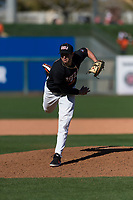Oregon State Beavers relief pitcher Joey Mundt (25) follows through on his delivery during a game against the Gonzaga Bulldogs on February 16, 2019 at Surprise Stadium in Surprise, Arizona. Oregon State defeated Gonzaga 9-3. (Zachary Lucy/Four Seam Images)
