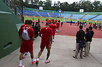The United States Men's National team walks out onto the field at Estadio Mateo Flores in Guatemala City, Guatemala on Mon. June 11, 2012 for practice.  The USA will face Guatemala in a World Cup Qualifier on Tuesday.
