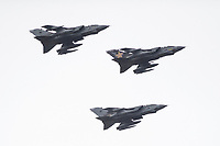 Pictured: Three Tornado aircraft fly past RAF Pembrey in west Wales, UK. Wednesday 20 February 2019<br /> Re: After 40 years of service, the Tornado jet is undertaking a series of flypasts across the UK to mark its retirement. The three day-long tour began on 19 February, with the iconic aircraft flying over most RAF bases and other sites associated with its history.