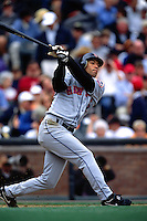 SAN FRANCISCO, CA - Roberto Alomar of the New York Mets bats during a game against the San Francisco Giants at SBC Park in San Francisco, California on August 22, 2002. (Photo by Brad Mangin)