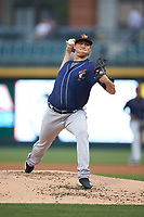 Toledo Mud Hens starting pitcher Spenser Watkins (50) in action against the Charlotte Knights at BB&T BallPark on April 25, 2019 in Charlotte, North Carolina. The Mud Hens defeated the Knights 11-7. (Brian Westerholt/Four Seam Images)
