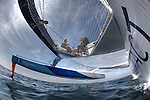 Onboard the MOD70 Race for Water, the first of the new series of oceanic one-design multihulls, skipper Steve Ravussin, Lorient, Brittany, France..Quentin Lucet from VPLP.Nicolas Pichelin