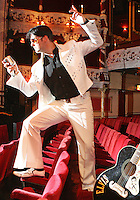 """NO REPRO FEE. 11/8/2010. Elvis Presley Story. Irelands foremost Elvis performer Kevin Doyle is pictured in his Elvis costume rehearsing in the Olympia Theatre in preparation for his show """" Kevin Doyle Sings the Elvis Presley Story"""" this Sunday the 15th of August. Tickets are from 25.50 including booking fee on sale now. Picture James Horan/Collins Photos"""