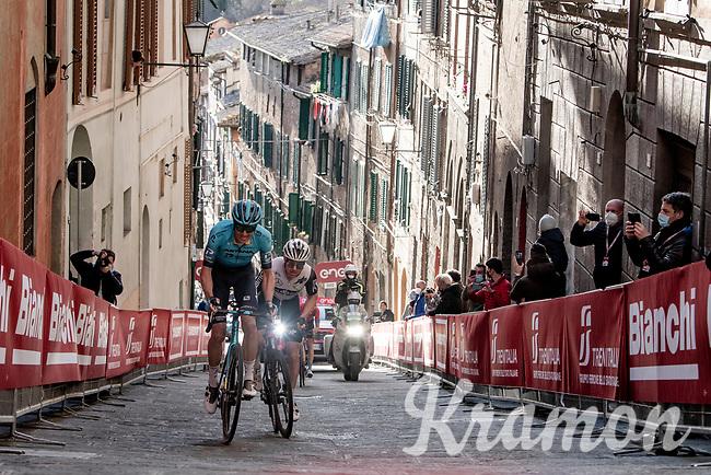 Jakob Fuglsang (DEN/Astana - Premier Tech) & Simon Clarke (AUS/Qhubeka ASSOS) up the final steep climb in Siena<br /> <br /> 15th Strade Bianche 2021<br /> ME (1.UWT)<br /> 1 day race from Siena to Siena (ITA/184km)<br /> <br /> ©kramon