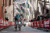 Jakob Fuglsang (DEN/Astana - Premier Tech) & Simon Clarke (AUS/Qhubeka ASSOS) up the final steep climb in Siena<br /> <br /> 15th Strade Bianche 2021<br /> ME (1.UWT)<br /> 1 day race from Siena to Siena (ITA/184km)<br /> <br /> ©kramon