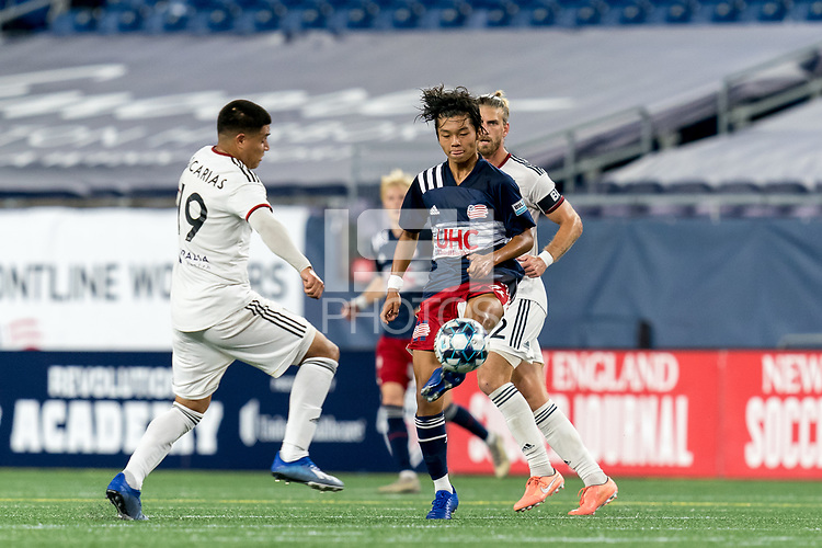 FOXBOROUGH, MA - SEPTEMBER 09: Hikaru Fujiwara #53 of New England Revolution II passes the ball during a game between Chattanooga Red Wolves SC and New England Revolution II at Gillette Stadium on September 09, 2020 in Foxborough, Massachusetts.