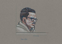 Montreal - CANADA - File images -  An artist's sketch shows Luka Rocco Magnotta, at his trial for the murder of Jin Li, September 30, 2014.<br /> <br />  It is one of the most grisly and sensational murder trials in Canadian history<br /> <br /> Image :  Agence Quebec Presse  - Atalante