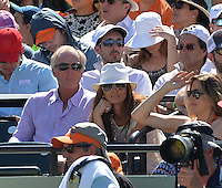 KEY BISCAYNE, FL - APRIL 05: Greg Norman and wife Kirsten Kutner watch Novak Djokovic of Serbia defeat Andy Murray of Great Britain in the mens final during the Miami Open at Crandon Park Tennis Center on April 5, 2015 in Key Biscayne, Florida.<br /> <br /> <br /> People:  Greg Norman, Kirsten Kutner<br /> <br /> Transmission Ref:  FLXX<br /> <br /> Must call if interested<br /> Michael Storms<br /> Storms Media Group Inc.<br /> 305-632-3400 - Cell<br /> 305-513-5783 - Fax<br /> MikeStorm@aol.com