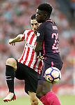 Athletic de Bilbao's Aritz Aduriz (l) and FC Barcelona's Samuel Umtiti during La Liga match. August 28,2016. (ALTERPHOTOS/Acero)