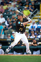 Pittsburgh Pirates center fielder Adam Frazier (73) at bat during a Spring Training game against the Toronto Blue Jays  on March 3, 2016 at McKechnie Field in Bradenton, Florida.  Toronto defeated Pittsburgh 10-8.  (Mike Janes/Four Seam Images)