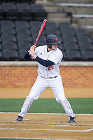 Jon Mayer (25) of the Bucknell Bison at bat against the Georgetown Hoyas at Wake Forest Baseball Park on February 14, 2015 in Winston-Salem, North Carolina.  The Hoyas defeated the Bison 8-5.  (Brian Westerholt/Four Seam Images)
