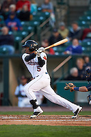 Rochester Red Wings outfielder Eric Farris (5) at bat during a game against the Toledo Mudhens on May 12, 2015 at Frontier Field in Rochester, New York.  Toledo defeated Rochester 8-0.  (Mike Janes/Four Seam Images)