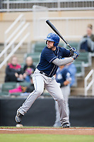 Vince Fernandez (8) of the Asheville Tourists at bat against the Kannapolis Intimidators at Kannapolis Intimidators Stadium on May 5, 2017 in Kannapolis, North Carolina.  The Tourists defeated the Intimidators 5-1.  (Brian Westerholt/Four Seam Images)