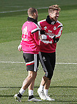 Real Madrid's Jese Rodriguez and Sergio Ramos (r) during training session.January 30,2015.(ALTERPHOTOS/Acero)