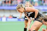 The Hague, Netherlands, June 05: Olivia Merry #4 of New Zealand in action during the field hockey group match (Women - Group A) between New Zealand and The Netherlands on June 5, 2014 during the World Cup 2014 at Kyocera Stadium in The Hague, Netherlands. Final score 0-2 (0-2) (Photo by Dirk Markgraf / www.265-images.com) *** Local caption ***