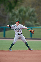 Dartmouth Big Green second baseman Sean Sullivan (4) throws to first base during a game against the USF Bulls on March 17, 2019 at USF Baseball Stadium in Tampa, Florida.  USF defeated Dartmouth 4-1.  (Mike Janes/Four Seam Images)