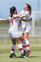 Bradenton, FL - Sunday, June 12, 2018: Caitlin Shaw, Canada, celebration prior to a U-17 Women's Championship 3rd place match between Canada and Haiti at IMG Academy. Canada defeated Haiti 2-1.