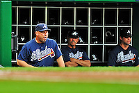 25 September 2011: Atlanta Braves Manager Fredi Gonzalez watches play from the dugout during a game against the Washington Nationals at Nationals Park in Washington, DC. The Nationals shut out the Braves 3-0 to take the rubber match third game of their 3-game series - the Nationals' final home game for the 2011 season. Mandatory Credit: Ed Wolfstein Photo