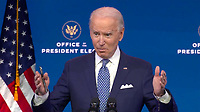 United States President-elect Joe Biden answers questions from the media pool after delivering remarks before the holiday from the Queen Theatre in Wilmington, Delaware on Tuesday, December 22, 2020. <br /> CAP/MPI/RS<br /> ©RS/MPI/Capital Pictures
