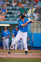 Hudson Valley Renegades center fielder Tanner Dodson (10) at bat during a game against the Tri-City ValleyCats on August 24, 2018 at Dutchess Stadium in Wappingers Falls, New York.  Hudson Valley defeated Tri-City 4-0.  (Mike Janes/Four Seam Images)