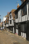 Rye East Sussex UK. Medieval half timbered building family homes in Church Square. Cobbled streets tourists sightseeing Medieval ancient Cinque Port.