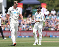 Kyle Jamieson and Kane Williamson during day one of the second International Test Cricket match between the New Zealand Black Caps and Pakistan at Hagley Oval in Christchurch, New Zealand on Sunday, 3 January 2021. Photo: Martin Hunter / lintottphoto.co.nz