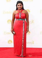LOS ANGELES, CA, USA - AUGUST 25: Actress Mindy Kaling arrives at the 66th Annual Primetime Emmy Awards held at Nokia Theatre L.A. Live on August 25, 2014 in Los Angeles, California, United States. (Photo by Celebrity Monitor)