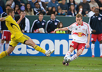 Chris Leitch gets off a cross during MLS Cup 2008. Columbus Crew defeated the New York Red Bulls, 3-1, Sunday, November 23, 2008. Photo by John Todd/isiphotos.com