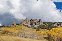 The Owl Creek Pass area northeast of Ridgway, Colorado has these distinctive rock formations throughout.  This image combines one such outcropping with late autumn aspens and brilliant white clouds.