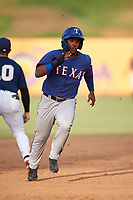 AZL Rangers Alexander Ovalles (10) runs to third base during an Arizona League game against the AZL Brewers Blue on July 11, 2019 at American Family Fields of Phoenix in Phoenix, Arizona. The AZL Rangers defeated the AZL Brewers Blue 5-2. (Zachary Lucy/Four Seam Images)