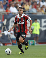AC Milan forward Antonio Cassano (99) looks to pass. In an international friendly, AC Milan defeated C.D. Olimpia, 3-1, at Gillette Stadium on August 4, 2012.