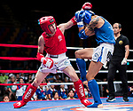 Bayadaa Mendbayar (Red) of Mongolia fights against Wong Kim Nam (Blue) of Hong Kong in the male muay 60KG division weight bout during the East Asian Muaythai Championships 2017 at the Queen Elizabeth Stadium on 13 August 2017, in Hong Kong, China. Photo by Yu Chun Christopher Wong / Power Sport Images