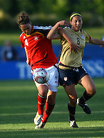 Valeria Kleiner (GER) and Vicki DiMartino compete for the ball..FIFA U17 Women's World Cup, Semi Final, Germany v USA, QEII Stadium, Christchurch, New Zealand, Thursday 13 November 2008. Photo: Renee McKay/PHOTOSPORT