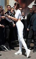 June 10 2017, PARIS, FRANCE : Bella Hadid at the Nike store in Aubry le Boucher street les Halles for the celebration of Nike Cortez