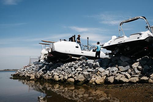 Fixing the rudder at the boatyard in Far Rockaway, New York